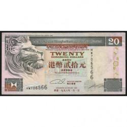 Hong Kong - Pick 201b2 - The H. S. B. C. Lim. - 20 dollars - 01/01/1996 - Etat : TTB+