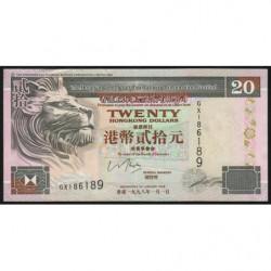 Hong Kong - Pick 201d - The H. S. B. C. Lim. - 20 dollars - 01/01/1998 - Etat : TTB