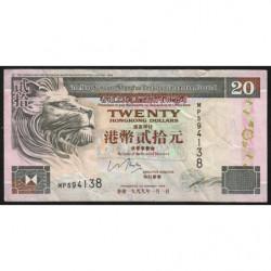 Hong Kong - Pick 201d - The H. S. B. C. Lim. - 20 dollars - 01/01/1999 - Etat : TB+