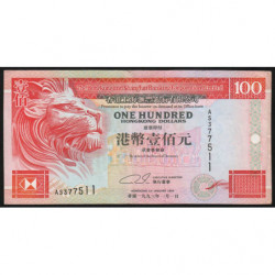 Hong Kong - Pick 203a - The H. S. B. C. Lim. - 100 dollars - 01/01/1993 - Etat : TTB