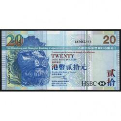 Hong Kong - Pick 207a - The H. S. B. C. Lim. - 20 dollars - 01/07/2003 - Etat : NEUF