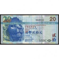 Hong Kong - Pick 207a - The H. S. B. C. Lim. - 20 dollars - 01/07/2003 - Etat : TTB