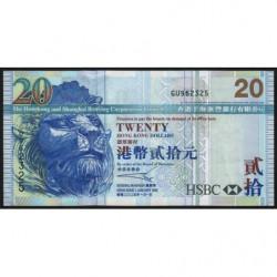 Hong Kong - Pick 207b - The H. S. B. C. Lim. - 20 dollars - 01/01/2005 - Etat : TTB+