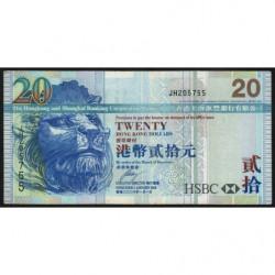 Hong Kong - Pick 207c - The H. S. B. C. Lim. - 20 dollars - 01/01/2006 - Etat : TTB
