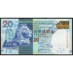 Hong Kong - Pick 212a - The H. S. B. C. Lim. - 20 dollars - 01/01/2010 - Etat : NEUF
