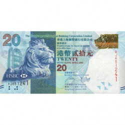 Hong Kong - Pick 212d - The H. S. B. C. Lim. - 20 dollars - 01/01/2014 - Etat : NEUF