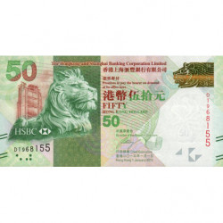 Hong Kong - Pick 213c - The H. S. B. C. Lim. - 50 dollars - 01/01/2013 - Etat : NEUF