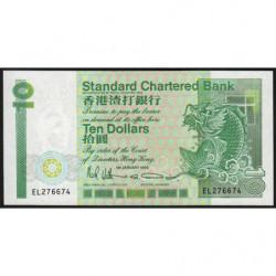 Hong Kong - Pick 278c - Standard Chartered Bank - 10 dollars - 01/01/1990 - Etat : NEUF