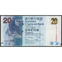 Hong Kong - Pick 297d - Standard Chartered Bank - 20 dollars - 01/01/2014 - Etat : NEUF