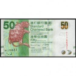Hong Kong - Pick 298d - Standard Chartered Bank - 50 dollars - 01/01/2014 - Etat : NEUF