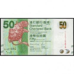 Hong Kong - Pick 298e - Standard Chartered Bank - 50 dollars - 01/01/2016 - Etat : NEUF