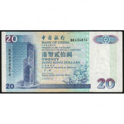 Hong Kong - Pick 329b - Bank of China - 20 dollars - 01/01/1996 - Etat : TB