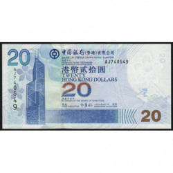 Hong Kong - Pick 335a - Bank of China - 20 dollars - 01/07/2003 - Etat : NEUF