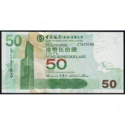 Hong Kong - Pick 336f - Bank of China - 50 dollars - 01/01/2009 - Etat : NEUF