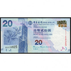 Hong Kong - Pick 341a - Bank of China - 20 dollars - 01/01/2010 - Etat : NEUF
