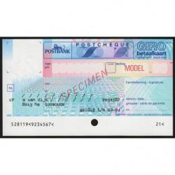 Hollande - Postchèque spécimen - 1991 - Etat : NEUF