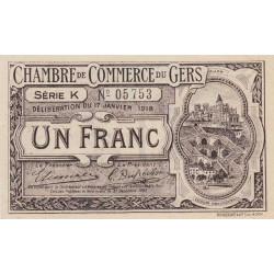 Auch (Gers) - Pirot 15-14a - Série K - 1 franc - 1918 - Etat : SPL