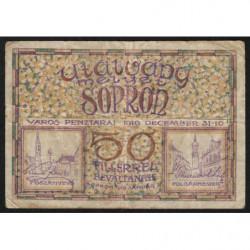 Hongrie - Billet nécessité de Sopron - 50 fillér - 1919 - Etat : TB