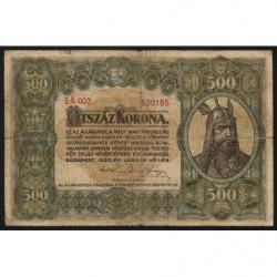 Hongrie - Pick 65 - 500 korona - 01/01/1920 - Etat : TB-