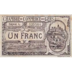 Auch (Gers) - Pirot 15-14b - Série L - 1 franc - 1918 - Etat : TB+