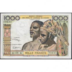 Côte d'Ivoire - Pick 103Aj - 1'000 francs - Série  Q.119- 1974 - Etat : SPL
