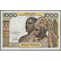 Côte d'Ivoire - Pick 103Ak - 1'000 francs - Série W.139 (billet de remplacement) - 1975 - Etat : SUP-