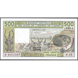 Côte d'Ivoire - Pick 106Ag - 500 francs - Série F.16 - 1986 - Etat : NEUF