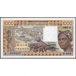 Côte d'Ivoire - Pick 107Ab-1 - 1'000 francsB.005 - 1981 - Erreur numéro - Etat : NEUF