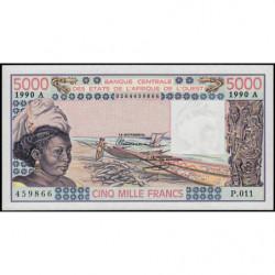 Côte d'Ivoire - Pick 108Aq - 5'000 francs - Série P.011 - 1990 - Etat : NEUF
