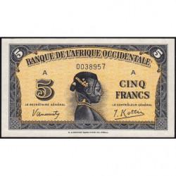 AOF - Pick 28a_1 - 5 francs - 14/12/1942 - Etat : SPL