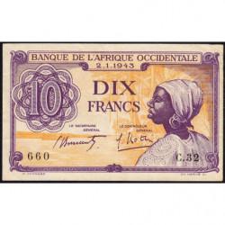 AOF - Pick 29 - 10 francs - 02/01/1943 - Etat : SUP