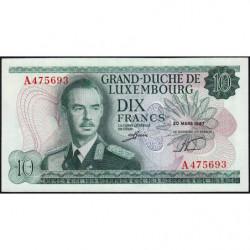 Luxembourg - Pick 53a - 10 francs - 20/03/1967 - Etat : NEUF