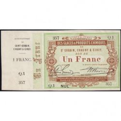 Saint-Gobain - Manufactures des Glaces - Jer 02.17A - 1 franc - 10/10/1870 - Etat : SPL
