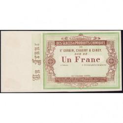 Saint-Gobain - Manufactures des Glaces - Jer 02.17A - 1 franc - 10/10/1870 - Epreuve - Etat : SPL