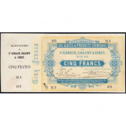 Saint-Gobain - Manufactures des Glaces - Jer 02.17B - 5 francs - 10/10/1870 - Etat : SPL
