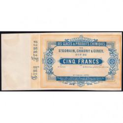 Saint-Gobain - Manufactures des Glaces - Jer 02.17B - 5 francs - 10/10/1870 - Epreuve - Etat : SPL