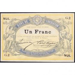 Ville de Lille - Jer 59.40A - 1 franc - 17/09/1870 - Etat : SPL
