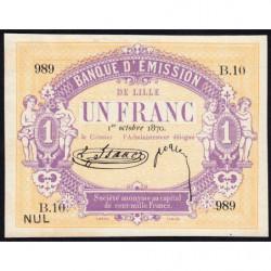 B. d'émission Lille - Jer 59.41A - 1 franc - 01/10/1870 - Etat : SPL
