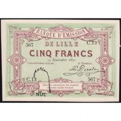 B. d'émission Lille - Jer 59.41B - 5 francs - 15/11/1870 - Etat : SPL