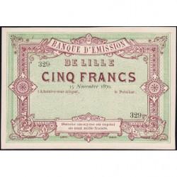 B. d'émission Lille - Jer 59.41B - 5 francs - 15/11/1870 - Epreuve - Etat : SPL