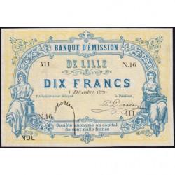 B. d'émission Lille - Jer 59.41C - 10 francs - 03/12/1870 - Etat : SPL