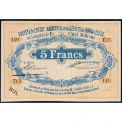 Lille Crédit du Nord - Jer 59.42A - 5 francs - 1870 - Etat : SPL