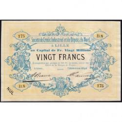 Lille Crédit du Nord - Jer 59.42B - 20 francs - 1870 - Etat : SPL