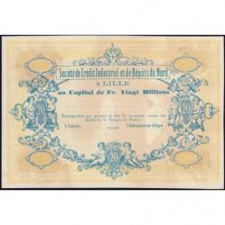 Lille Crédit du Nord - Jer 59.42B - 20 francs - 1870 - Epreuve - Etat : SUP