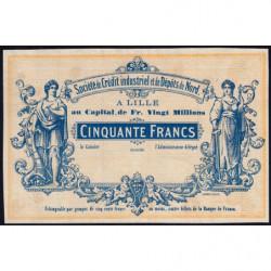 Lille Crédit du Nord - Jer 59.42C - 50 francs - 1870 - Epreuve - Etat : SUP