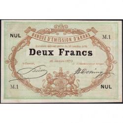 B. d'émission Arras - Jer 62.02A - 2 francs - 18/10/1870 - Etat : SPL