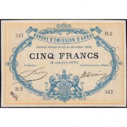 B. d'émission Arras - Jer 62.02B - 5 francs - 18/10/1870 - Etat : SPL