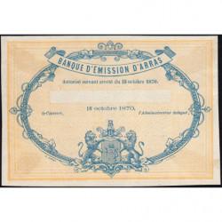 B. d'émission Arras - Jer 62.02B - 5 francs - 18/10/1870 - Epreuve - Etat : SPL