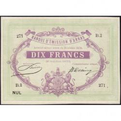 B. d'émission Arras - Jer 62.02C - 10 francs - 18/10/1870 - Etat : SPL