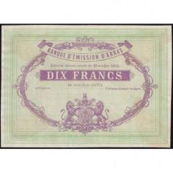 B. d'émission Arras - Jer 62.02B - 10 francs - 18/10/1870 - Epreuve - Etat : SPL